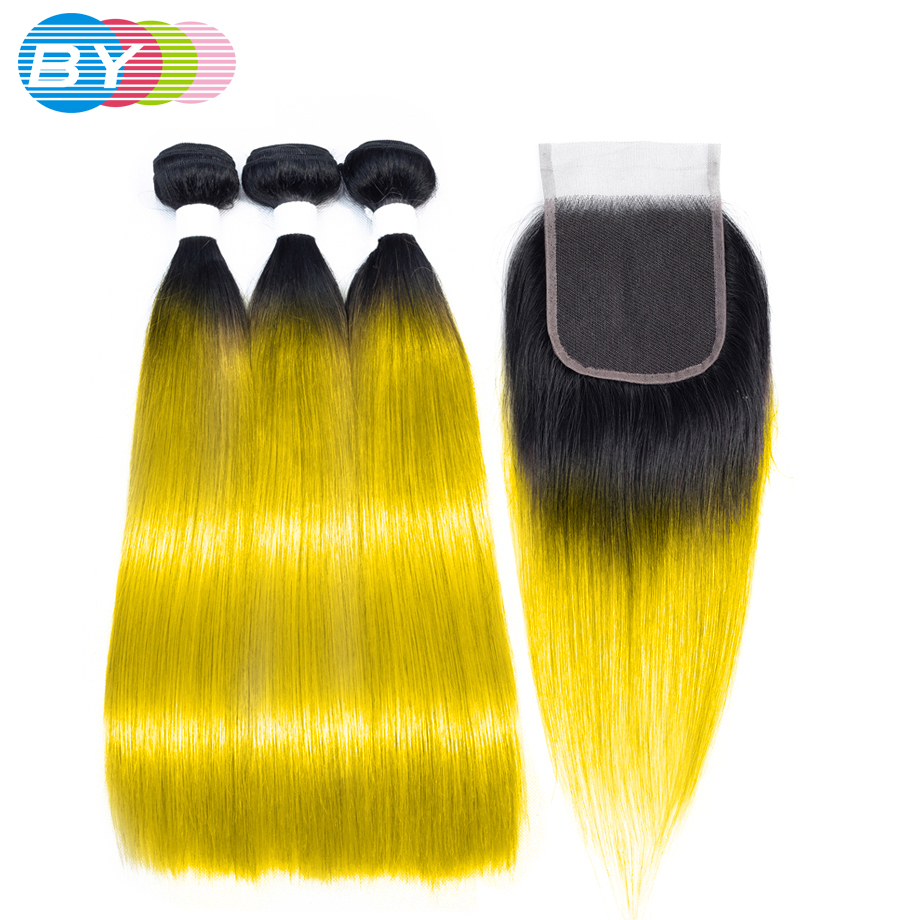 BY Straight Hair Bundles With Closure Pre colored Hair OT Yellow Color Non Remy Brazilian Human