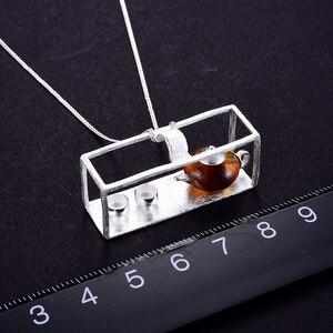 Image 5 - לוטוס כיף רגע אמיתי 925 כסף סטרלינג תכשיטים טבעי אבן בציר קומקום תליון ללא שרשרת לנשים