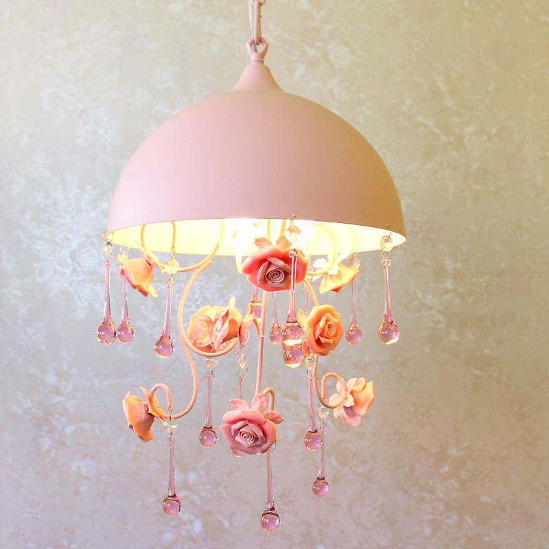 Pastoral romantic style Korean wrought iron pendant light pink rose flower bedroom dining room hanging lighting lamp|Pendant Lights| |  - title=