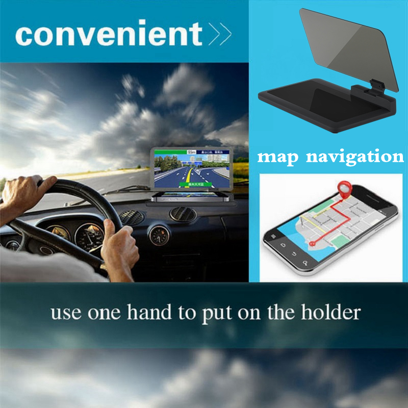 Universal H6 Car HUD Holder Head Up Display Adjustable GPS Navigator Smarter Mobile Phone with Reflection Film Car Mount Stand