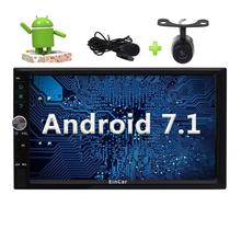 """Backup Camera Android 7.1 Car Stereo 2din 7"""" Autoradio Head Unit in Dash 3D GPS Navigation FM AM RDS Radio+External Microphone"""
