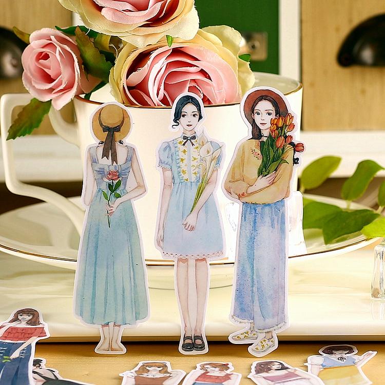 19pcs Kawaii Creative Cute Self-made Sweet Girls Stickers Scrapbooking Stickers /decorative Sticker /DIY Craft Photo Albums