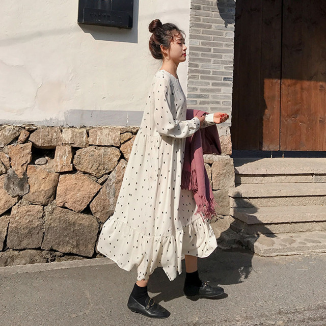 Plus Size 2019 Spring Summer European Style Brand Cothing Loose Long Sleeve Women Dresses Print Dot Linen Vestidos O-Neck Robe