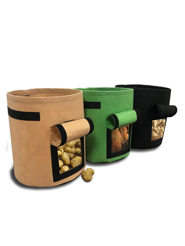 Image 3 - Сумка для выращивания картофеля с ручками, цветочный горшок для выращивания овощей, сумки для домашнего сада, аксессуары для посадки, ящик для выращивания, ведро, горшок-in Гроубэги from Дом и животные