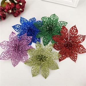 Image 2 - 10 pçs 15cm flores artificiais brilhantes decorações da árvore de natal decoração para casa fontes festa de casamento festivo 6zhh186