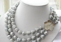 En gros prix 16new ^ ^ ^ ^ triple strandsAAA 11-13mm naturel mer du sud gris perle baroque collier 18 pouce