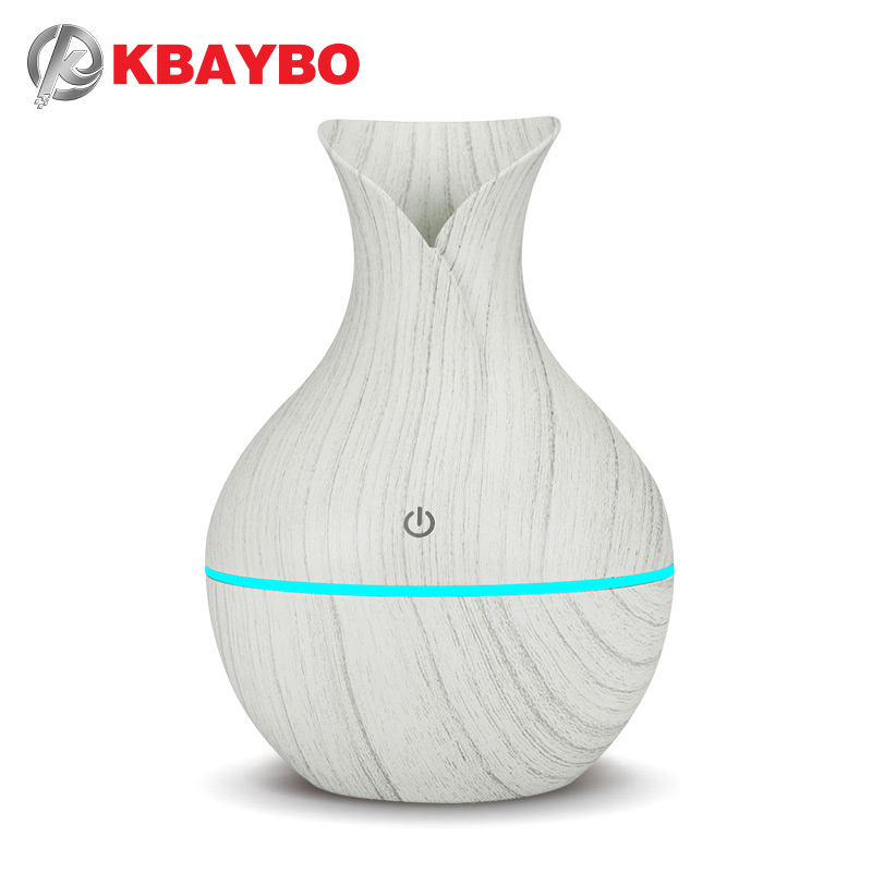 KBAYBO 130ml USB mini  electric humidifier aroma diffuser ultrasonic wood grain air humidifier with 7 color LED light for home  KBAYBO 130ml USB mini  electric humidifier aroma diffuser ultrasonic wood grain air humidifier with 7 color LED light for home