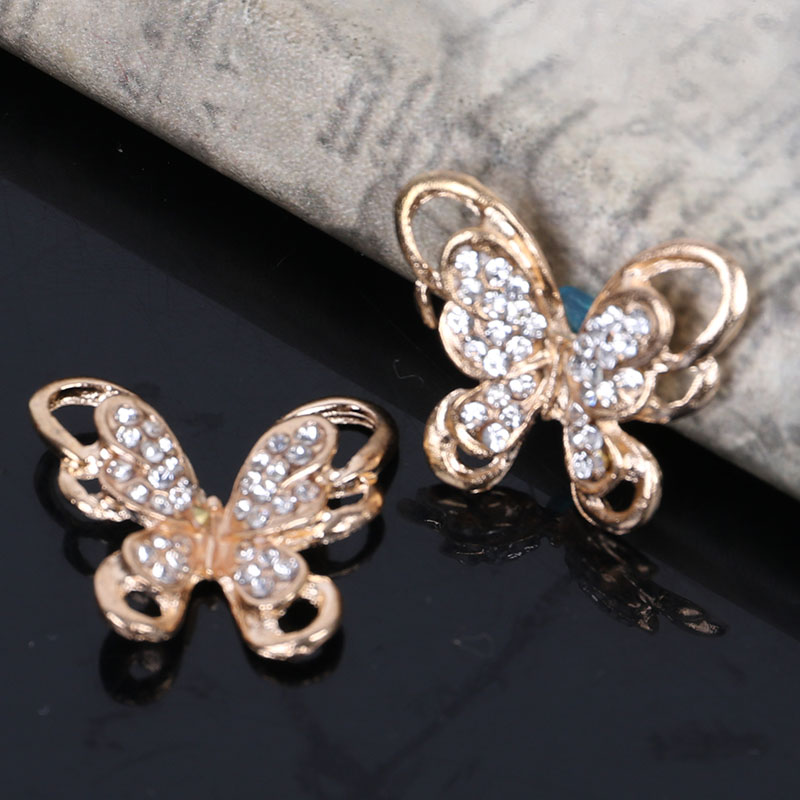 2017New 100Pcs Alloy Rhinestone Butterfly Buttons/Buckle Embellishment button DIY accessories ZJ417-in Buttons from Home & Garden on AliExpress - 11.11_Double 11_Singles' Day 1