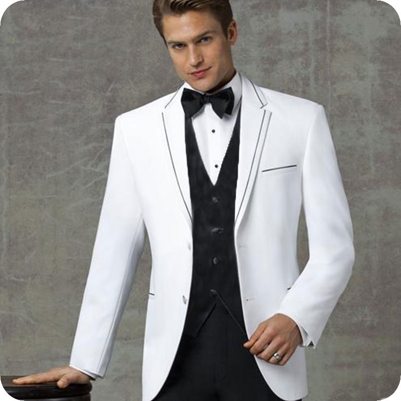 Latest Coat Pant Design White Men Suits For Wedding Suits Slim Fit Formal Prom Man Blazer Groom Tuxedo Terno Masculino 3Pieces