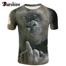 Мужская футболка с животными орангутанг/обезьяна 3D мужская футболка с рисунком забавные Молодежные футболки с коротким рукавом и круглым вырезом с 3D принтом летняя одежда XXS-4XL