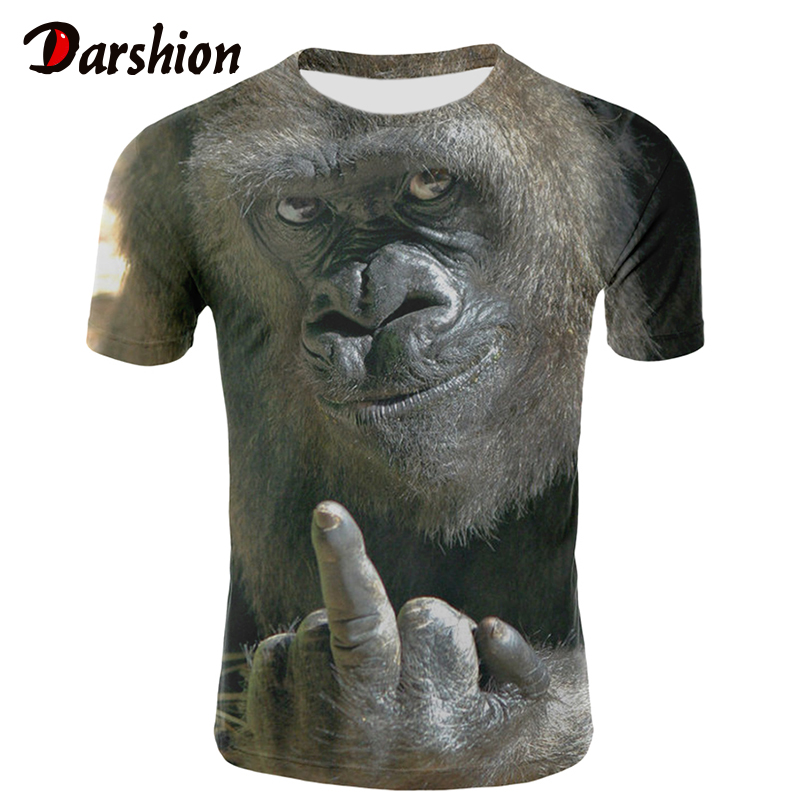 Milk Silk Men Animal   t     shirt   Orangutan/monkey 3D Print tshirt Men Funny tees tops Short Sleeve O-neck 3D Print Summer Clothes