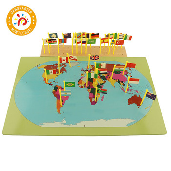 Baby Toy Montessori Flags of the World Know World Early Development Educational Wooden Toy flags of the world
