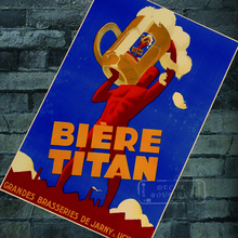 Retro Advertising Posters Biere Titan Beer Ads Classic Wall Stickers Canvas Painting Vintage Poster Home Bar