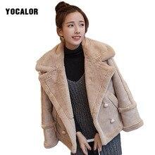 2017 Korean Winter Autumn Loose Parka  Faux Leather Female Coat Women Short Casaco FemininoBasic Wool Blends Outerwear Snow Wear