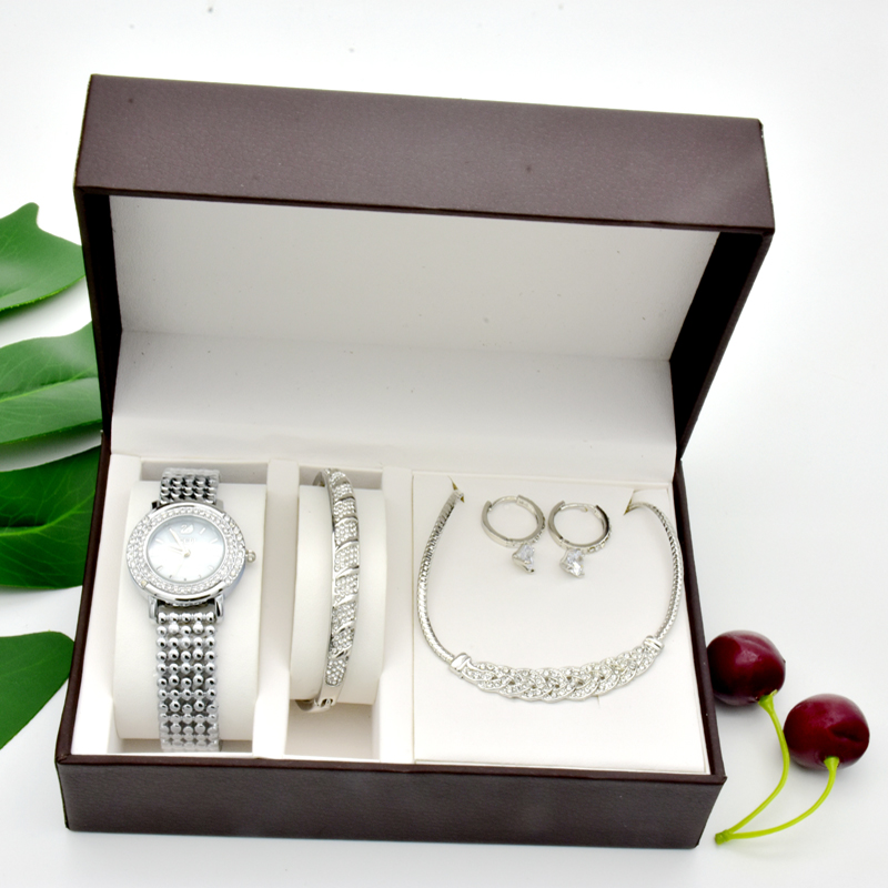 New watch Sets 4Pcs Women watches ,Necklaces, Bracelets, Earrings With Big Watch Box Woman Party Girlfriend Mother's Day gifts