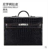 Гете Новый hand made нильский крокодил живота сумка для мужчин сумочка натуральная кожа бизнес крокодил большой мужской портфель