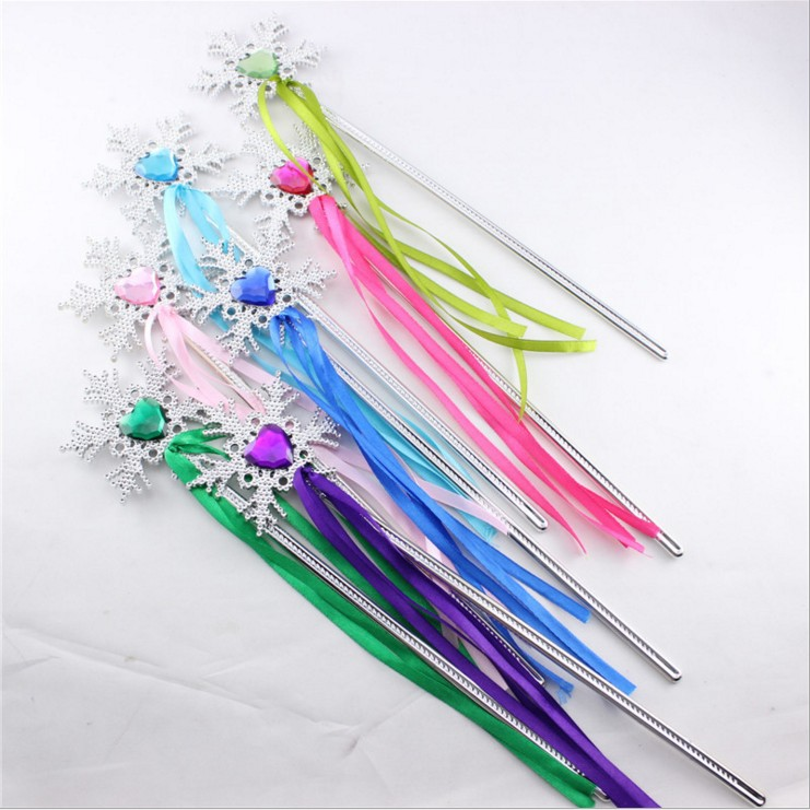 Wands Gem-Sticks Snowflake Christmas-Party Ribbon Plastic Girl Magic