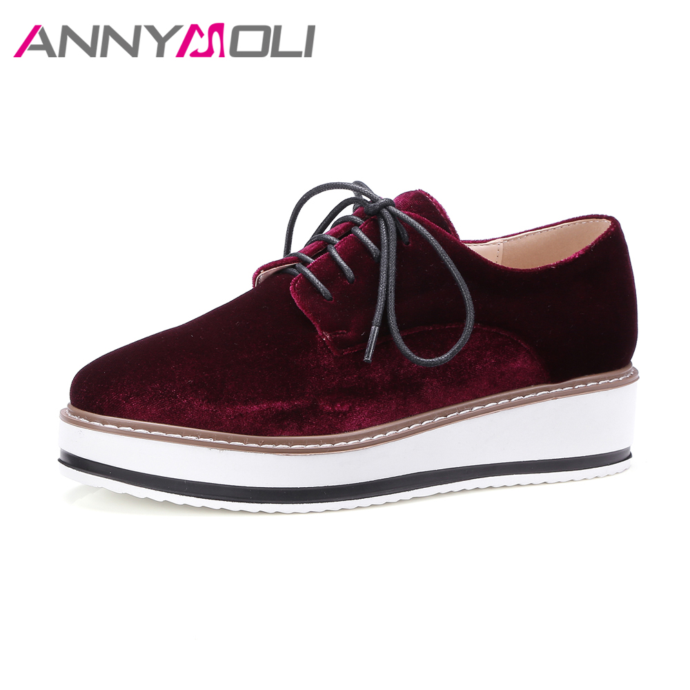 ANNYMOLI 2018 Women Shoes Velvet Creepers Platform Flats Ladies Shoes Spring Lace Up Sewing Sneakers Oxford Shoes Female Zapatos annymoli women flat platform shoes creepers real rabbit fur warm loafers ladies causal flats 2018 spring black gray size 9 42 43