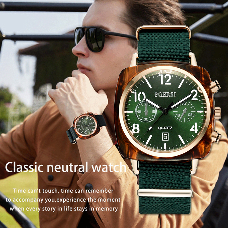 Fashion Men Canvas Strap Dress Quartz Clock Watches For Women Luxury Simple Green Square Dial Sports Wrist Watch 2018 New