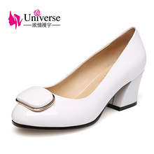 Universe Women's Shoes Square Heels Round Toe Elegant High Heel Shoes C028