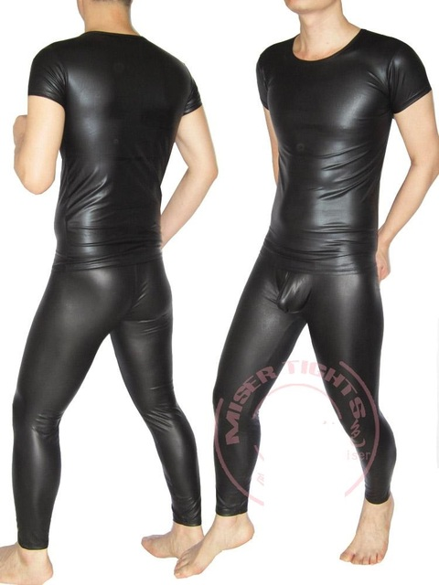 Favorite Men Sexy Faux Leather Pants Tights Slim Tight Stretchy Trousers  BM47