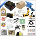 Free shipping 1 Sets New Complete Beginner High quality Rotary Tattoo Machine Kits + ink sets + power supply + needles Hot sell