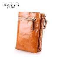 Kavya New Vintage Cowhide Genuine Leather Wallet Female Short Design Zipper Wallet Coin Purse Men And