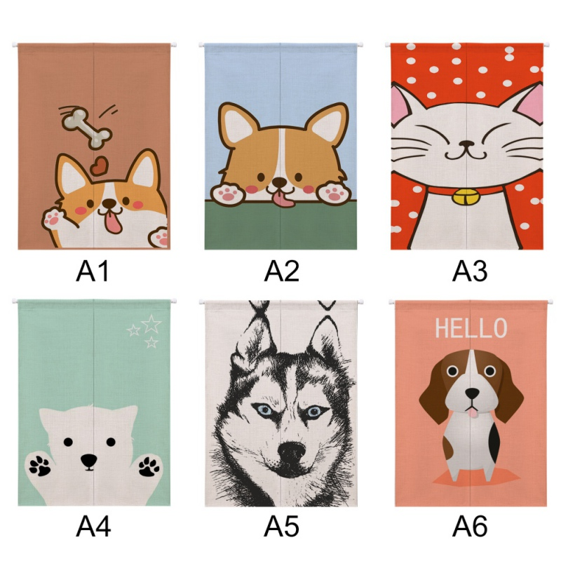 Image 5 - For Home Decoration Cartoon Animal Printed Cotton And Linen Japanese Style Noren Doorway Curtain Hanging Tapestry-in Window Screens from Home & Garden