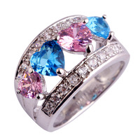 New Fashion Beautiful Lovely Heart Cut Pink Topaz 925 Silver Ring Size 6 7 8 9 10 11 12 Gift For Lady Free Shipping Wholesale