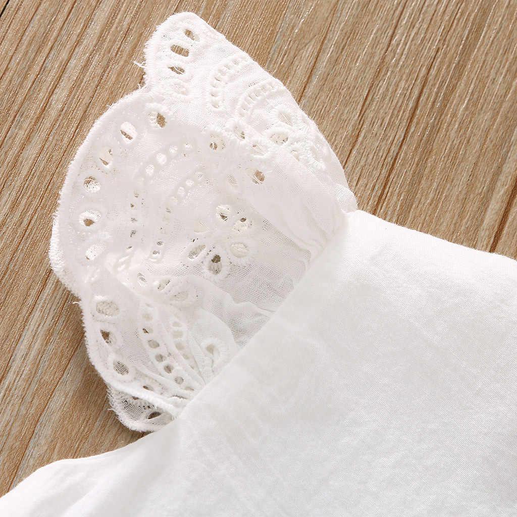 2019 Body de bebé con volantes de encaje blanco sólido traje de cuerpo para bebé recién nacido niña Onesie Sunsuit mono trajes ropa 0-24M