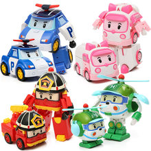 4 pcs/box Kids Transformed Creative Cars Toys Q Version City Hero Robot Car Action Figures Helicopter Transformation Car Toys(China)