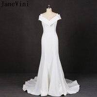 JaneVini Elegant White Plus Sized Mother Dresses Mermaid Long Satin Mother Of The Bride Dress Arabic Sweep Train Dinner Gowns