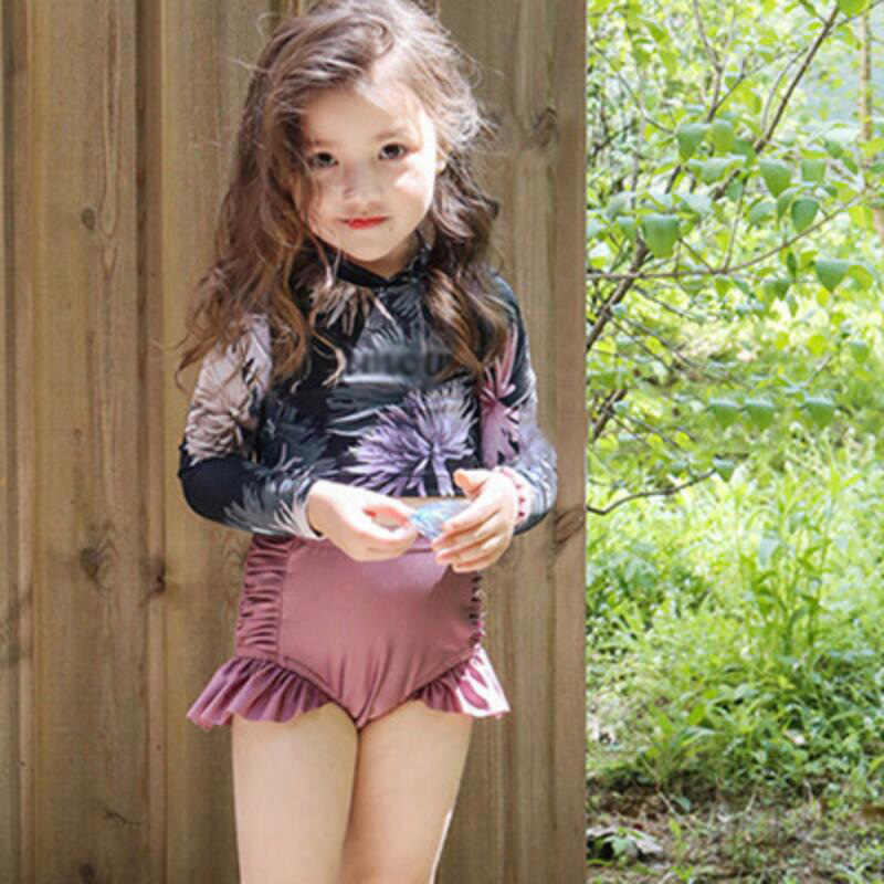 3 15 age Letter Print Swimwear Summer Beach Bathing Suit Children girls swimsuit children Kids Girl Swimsuit long sleeve 342| |   - AliExpress