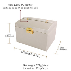 Image 5 - U7 Women Jewelry Storage Organizer Drawers Box Travel Makeup Cosmetic Case & Mirror Leather Wedding Decoration Gift For Her OB05