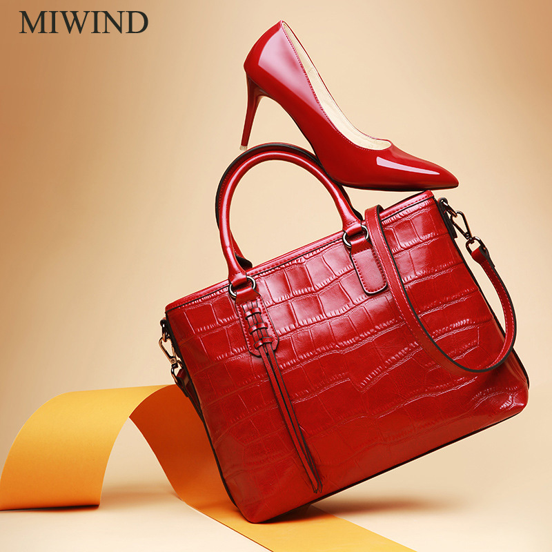 Free Shipping MIWIND Fashion Handbags Famous Brand Bags High Quality Buckle Handbags Women Genuine Leather Shoulder Bag WU2644 miwind new fashion leather handbags high quality women shoulder bags buy one get another free full set 6 pieces more favorable