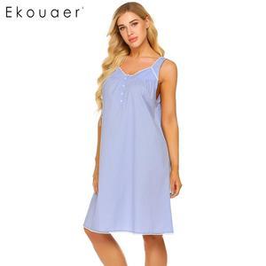 Image 4 - Ekouaer женская ночная рубашка из 100% хлопка, летнее платье без рукавов с v образным вырезом, плиссированная свободная ночная рубашка, женская одежда для сна