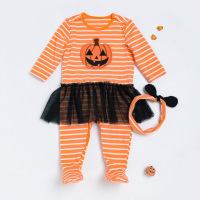 2pcs Newborn Baby Infant Pumpkin Girl Romper Winter Autumn Long Sleeve Romper Newborn Clothes Infant Coveralls
