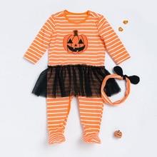 2pcs Newborn Baby Infant Pumpkin Girl Romper Winter Autumn Long Sleeve Romper Newborn Clothes Infant Coveralls