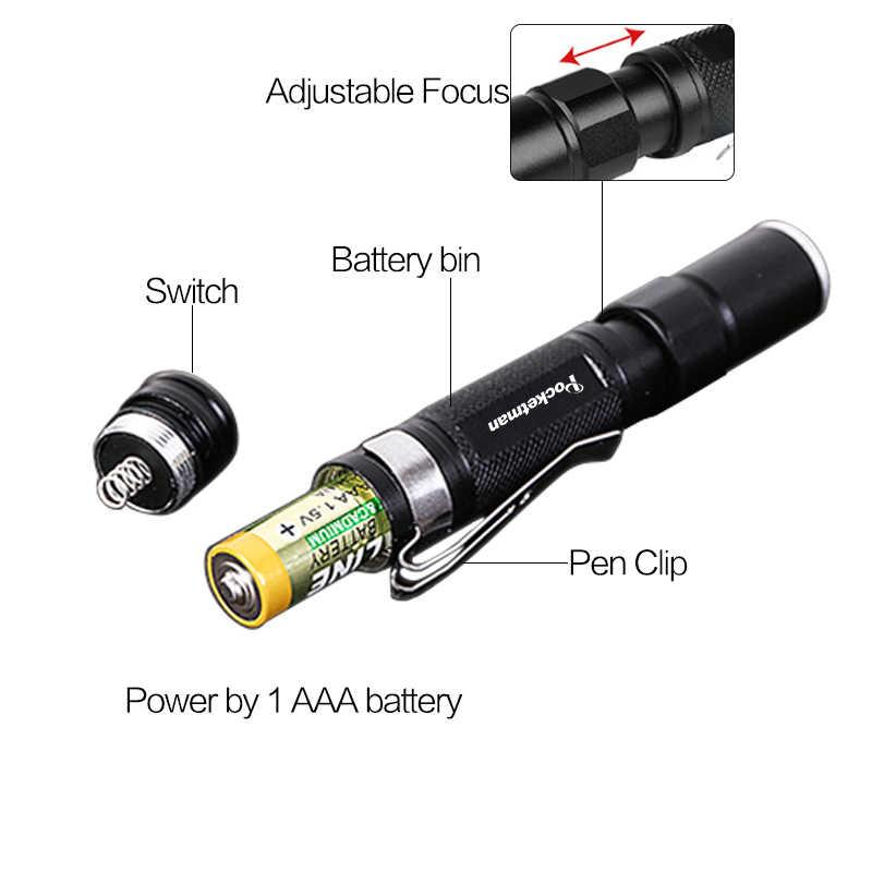 แบบพกพา Mini Penlight 2000LM ไฟฉาย LED ไฟฉายพ็อกเก็ตกันน้ำโคมไฟ AAA แบตเตอรี่ที่มีประสิทธิภาพ Led สำหรับล่าสัตว์
