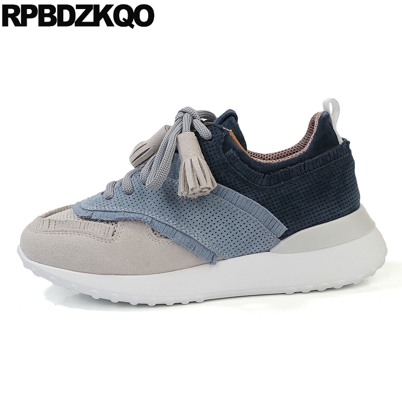 sneakers genuine   leather   trainers comfortable   suede   breathable lace up designer shoes women luxury 2019 wedge comfy thick sole