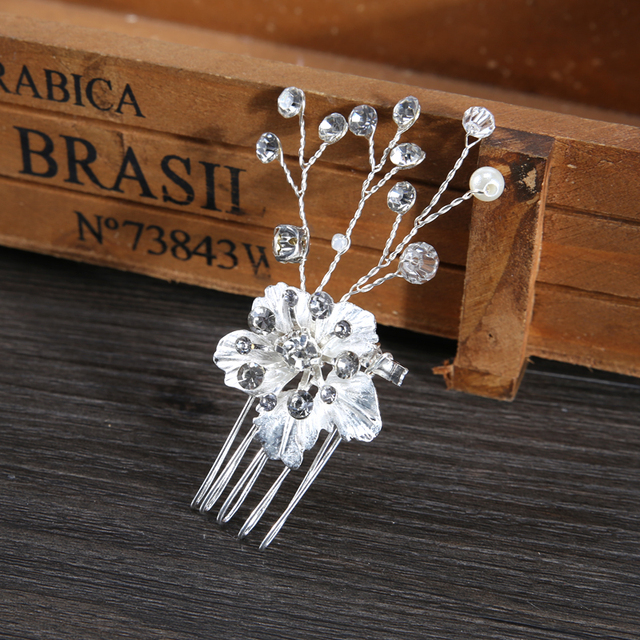 New Hair Jewelry Gold Women Crystal Comb Bride Hair Accessories Handmade Wedding Flower Hair Comb Headdress FS012