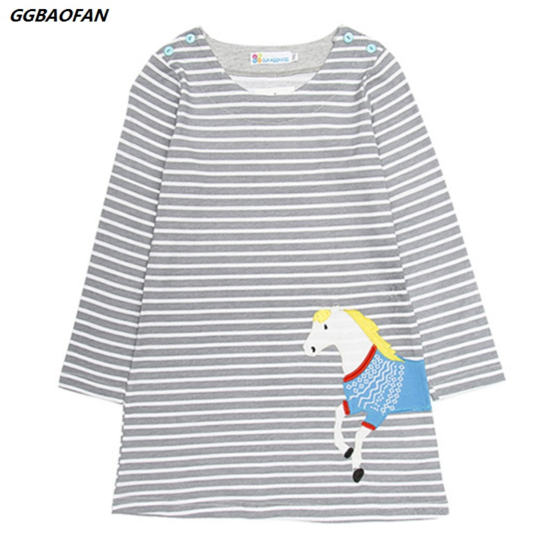 GGBAOFAN Baby girl dress 2019 Animal cartoon printed cotton dress for girls Long-sleeved lovely princess children's clothes 2-6Y