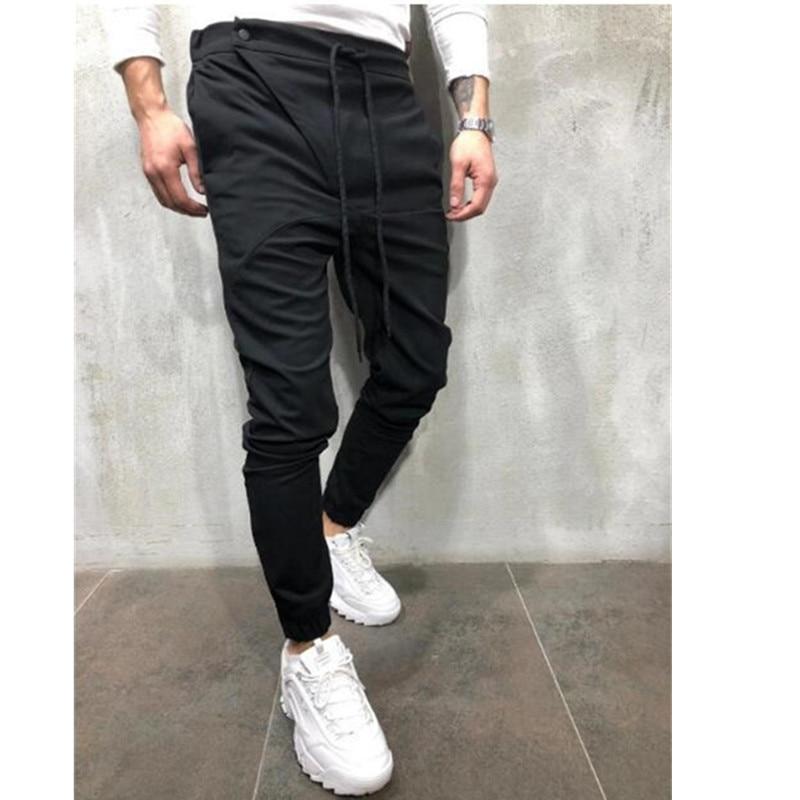 Men's New Sports Casual Hip Hop Jogging Pants Fitness Solid Stretch Waist Cross Pants Fashion Brand Small Leg Pants Pencil Pants