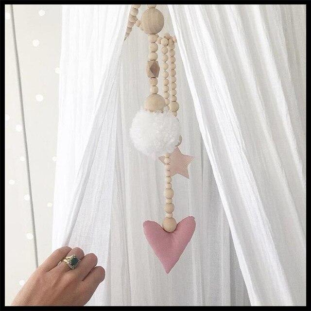 INS Spécial en bois Décoration Enfants Chambre Tente Décoration Photographie props Cheveux boule pendante Tente Décoration