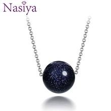 Nasiya 925 пробы серебряный кулон ожерелье для женщин модные украшения Голубой песок камень авантюрин обручение юбилей подарки