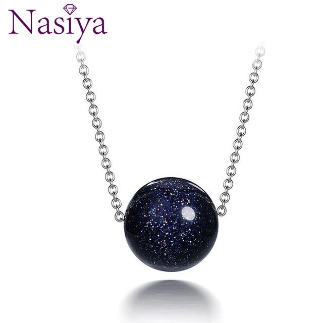 Nasiya 925 collier pendentif en argent Sterling pour femmes bijoux de mode sable bleu Aventurine pierre fiançailles cadeaux d'anniversaire