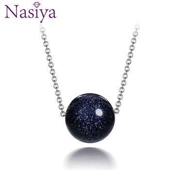 b9d01a299d85 Nasiya de Plata de Ley 925 colgante de collar para las mujeres joyería de  moda azul arena piedra Aventurina compromiso regalos de aniversario
