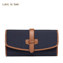Let it be brand big capacity long clutch wallet women oxford nylon magnetic wallets with leather lining