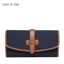 Let it be marke big kapazität lange kupplung brieftasche frauen oxford nylon magnetische brieftaschen mit leder futter