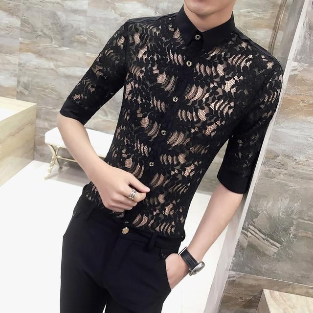 a416cbc174e 2018 summer sexy transparent shirt men slim fit lace shit men Korean fashion  wedding see through club party designer shirt